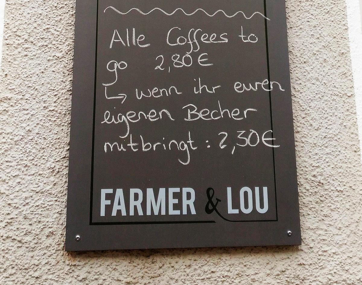 近所のカフェの看板「コーヒーのテイクアウト全種類2.80ユーロ。マイカップを持参すれば2.30ユーロ」